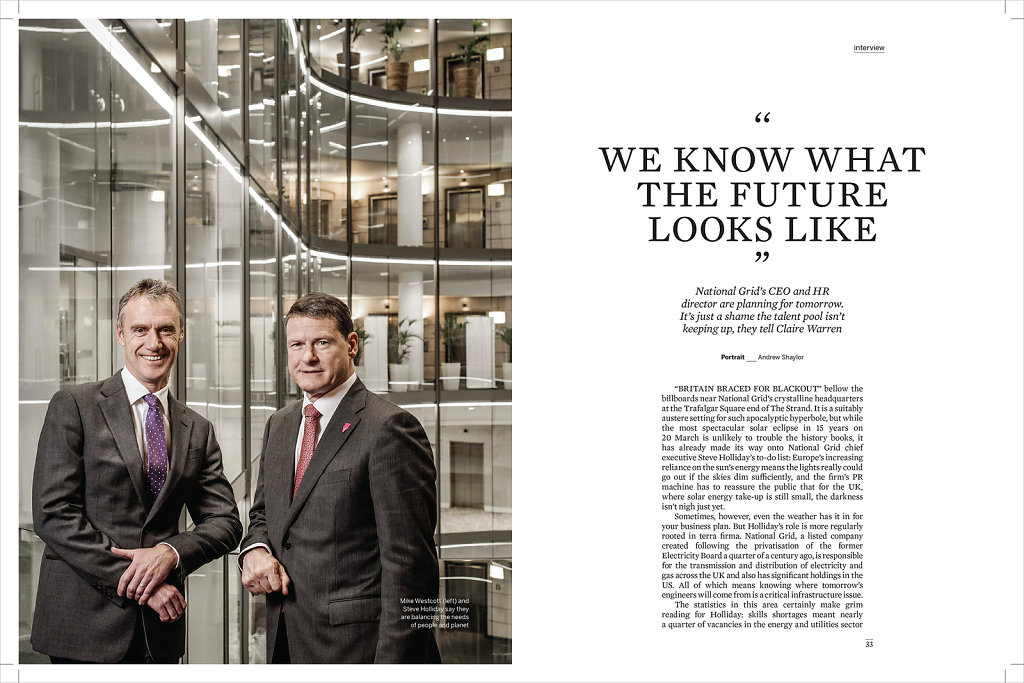 Mike Westcott (HR) & Steve Holliday (CEO), National Grid, London for Work Magazine