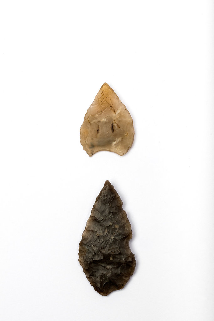 Flint Arrowheads photographed at The Dorking Museum